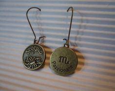 Scorpio! Sign Of The Scorpion! Reversible Charms! Bronze Charms On Bronze Kidney Shaped Ear Wires! One Of A Kind Earrings! Free S & H