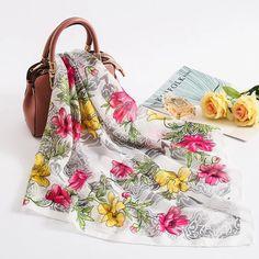 2018 new women silk scarf fashion summer shawl lady wraps floral chiffon soft neck head scarves bandana foulard hijabs wholesale Scarf Display, Floral Chiffon, Silk Scarves, Scarf Styles, New Woman, Womens Scarves, Scarf Wrap, Bandana, Shawl