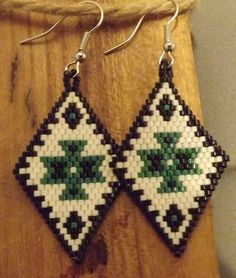 black green and white brick stitch earrings
