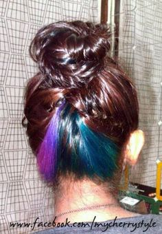 teal + purple + pink + blue hair! underneath so it's a surprise accessory to my outfit hehe =p