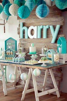 Decoración mesa de dulces para babyshower