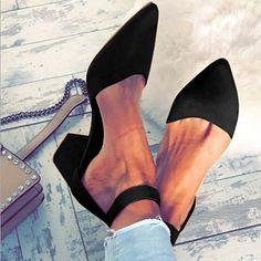 eecbc587b9d7 Women Flocking Pumps Sandals Casual Comfort Adjustable Buckle Shoes