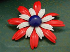 Vintage Enamel Flower Brooch Red White Blue by VogelHausVintage on Etsy