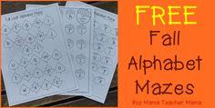 Boy Mama Teacher Mama: FREE Fall Alphabet Mazes:
