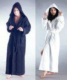 men`s terry cotton full length hooded bathrobe robe - listing
