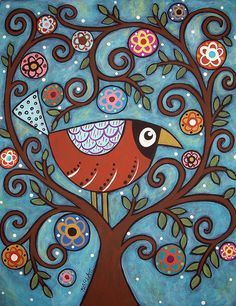 Inspiration for a modern folk art quilt - Funky Bird by karlagerard, via Flickr