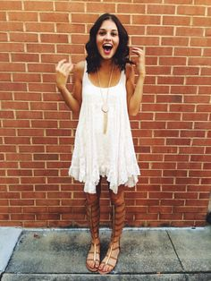 White dress for Lauren to wear with gladiators