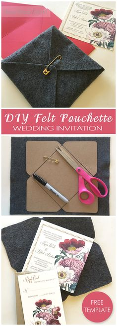 Grab the free pouchette template and make pouches for your wedding invitations from anything! I love the look of the industrial steel gray felt and brass pink, it's such a contrast to the pretty florals on the invitation.