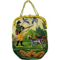 Старинная сумочка, вышитая бисером