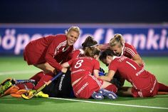 England women celebrate their place in the 2013 EuroHockey Championship Final after beating the Dutch in a penalty shoot out - for you Lea x