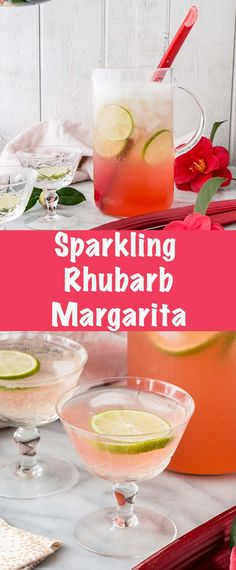 This Sparkling Rhubarb Margarita recipe is a perfect balance of sweet, tangy, and fizz that is a mark of a delicious cocktail! #cocktail #margarita #rhubarb