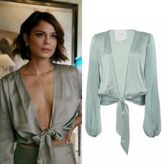 """Cristal Flores wears this AWAVEAWAKE """"wind"""" green two-tie blouse on Dynasty - Outfit Trends Fashion Tv, Fashion 2020, Look Fashion, Autumn Fashion, Fashion Outfits, Womens Fashion, Tie Blouse, Blouse Outfit, Dynasty Clothing"""