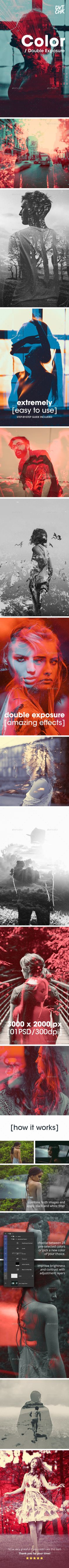 Color - Double Exposure Photoshop Photo Template - Photo Templates Graphics