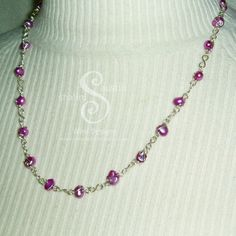 """""""Mauve Magic"""" Freshwater Pearl Necklace - Coloured Freshwater Pearls joined with silver plated copper wire links. Each pearl has been individually wrapped by hand."""
