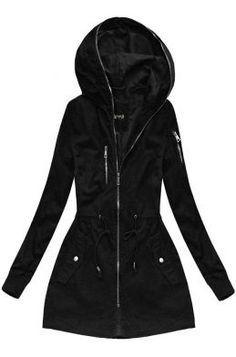 Dámska prechodná bunda parka čierna H055 Raincoat, Outfit, Jackets, Fashion, Rain Jacket, Outfits, Down Jackets, Moda, Fashion Styles