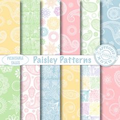 Paisley Patterns digital papers  - pink yellow blue green white - floral paisley patterns - Personal + UNLIMITED Commercial use! by PrintableTales on Etsy https://www.etsy.com/listing/244887500/paisley-patterns-digital-papers-pink