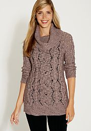 cable knit tunic sweater with metallic stitching - maurices.com