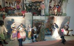 Escena de belén napolitano realizada por Belén de Salas y Belén del Pino. Exposición de la Casa de Galicia. Madrid 2014.