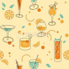Cocktail Pattern Royalty Free Stock Vector Art Illustration