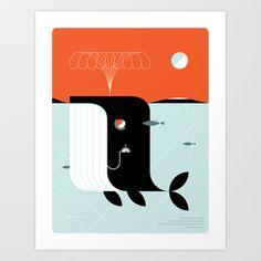 Time the dark whale Art Print by LouLou & Tummie - $12.48