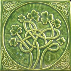 I have a tile similar to this green knot and shamrock tile.  I purchased it from a local framing shop, and had them frame it inside a shadow box with a dark gold frame and I LOVE it!