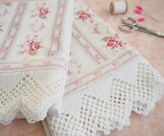 Hand Sewn Pillow Cases ~ New Fabric & Vintage Lace Yarn Crafts, Fabric Crafts, Sewing Crafts, Sewing Projects, Sewing Hacks, Sewing Tutorials, Sewing Patterns, Crochet Borders, Linens And Lace
