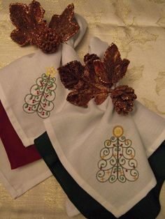 Finished Embroidered Christmas Tree Napkins