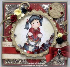 Cards made by Chantal: Tilda with chain hart - shaker card