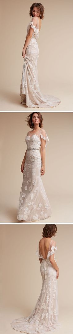 Romantic Floral Lace Wedding Dress with Flutter Sleeves