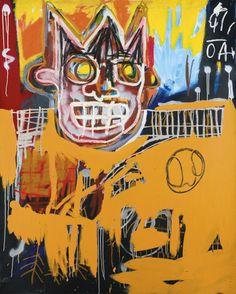 Jean-Michel Basquiat (American, 1960-1988), Orange Sports Figure, 1982. Acrylic, oilstick and spray paint on canvas, 60 x 48 in.