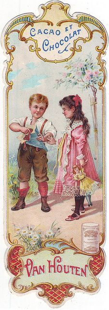 cacao van houten bookmark - boy holding blue packet with chocolates watched by girl holding doll by patrick.marks, via Flickr