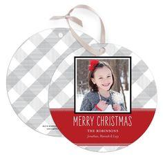 Ornament Cards Gingham Grosgrain - Front : Scarlet
