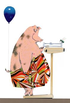 fat pig on a scale diet illustration by Robert Wagt Fat Pig, Pig Illustration, Animal Illustrations, Pig Drawing, Pig Art, Mini Pig, Cute Pigs, Funny Pigs, This Little Piggy
