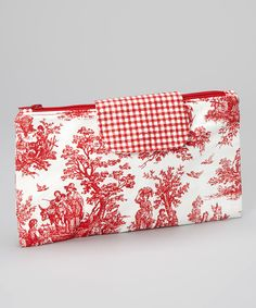 Red Toile Madison Diaper Clutch