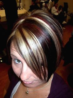 short dark hair with blonde highlights   short medium hairstyle with highlights.jpg picture