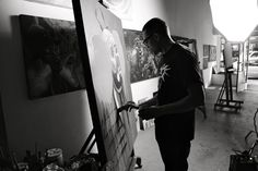 """Norm """"Nomzee' Maxwell at the Easel #LosAngeles #artist"""