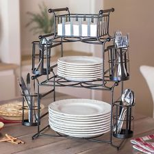 Giftburg 7-Piece Stackable Buffet Caddy Party Spoons Forks Cutlery Holder Server & 2 Piece Delaware Buffet Caddy Set - wrought iron utensil and plate ...