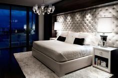Amazing Headboard Designs for Contemporary Bedroom : Custom Designed Tufted Headboard Covers Almost An Entire Wall Glam Bedroom, Home Bedroom, Bedroom Decor, Bedroom Ideas, Master Bedrooms, Bedroom Photos, Bedroom Lighting, Bedroom Wall, Bedroom Furniture