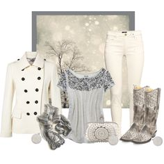 """OLD GRINGO GREY LEIGH STUD COWGIRL BOOTS"" by kimzarad1 on Polyvore"