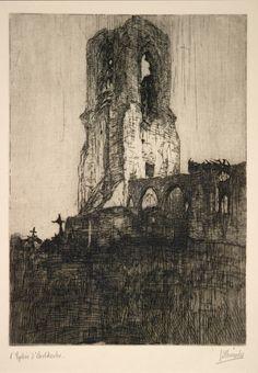 Jules De Bruycker - Etsen - Eaux-fortes - Etchings/J.D.B. 098 L'EGLISE D'OOSTKERKE 1917