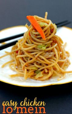 Easy Chicken Lo Mein is a great meal to toss together when you are short on time! It's filled with vegetables and tastes great as leftovers!