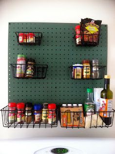 DIY pegboard spice rack/cooking accessory holder! Hmmm....I think maybe I might need this in my kitchen.