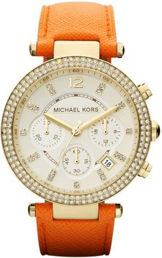 Michael Kors Midsize Orange Leather Parker Chronograph Glitz Watch