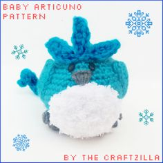 Baby Articuno Pokemon Pattern by The Craftzilla  It's a poofy birb amigurumi pattern to crochet for all your ice pokemon needs!  Like The Craftzilla on Facebook: https://www.facebook.com/thecraftzilla/