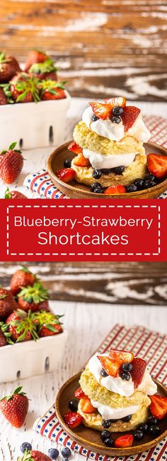 Blueberry strawberry shortcake is the best red white and blue dessert for all your summer patriotic holidays! These flaky buttermilk strawberry shortcakes with blueberries are the perfect patriotic dessert for the 4th of July, Memorial Day or Labor Day. Everyone will love these blueberry shortcakes at your summer parties. After one bite, I'm sure you'll agree these mixed berry shortcakes are the perfect summer dessert! Absolutely adore these red, white and blue shortcakes. Recipes Using Fruit, Strawberry Recipes, Healthy Dessert Recipes, Sweets Recipes, Muffin Recipes, Cupcake Recipes, Drink Recipes, Delicious Recipes, Easy Recipes