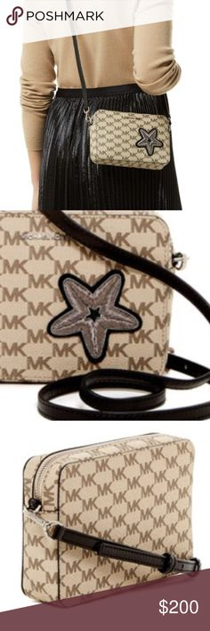 Michael Kors | Star patch medium cross - body bag Price cut ‼️Brand new with tags. A boxy silhouette in Michael Kors signature printed coated canvas lends this stylish cross-body bag sleek day to night appeal with a detachable strap for versatility and an embroidered appliqué star for a striking look. (Height 12.5cm, width 18.5cm, depth 4.5cm, mac strap drop 67cm) Michael Kors Bags Crossbody Bags
