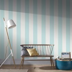 Calico Stripe Duck Egg Wallpaper by Graham and Brown