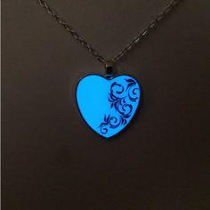 Glow in the Dark Heart Glowing Necklace by BespokeInnaDesign