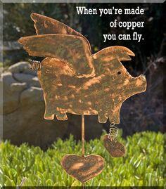 Pig Garden Stake / When Pig Fly / Garden Yard Art / Garden Decor / Copper Metal Garden Art / Plant Stake / Lawn Ornament / Outdoor Décor. $49.95, via Etsy.