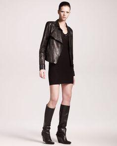 Lambskin Biker Jacket & Floating Ottoman Sheath Dress by Alexander Wang at Neiman Marcus. Leather Skirt, Leather Jacket, Jacket Dress, Alexander Wang, Sheath Dress, Neiman Marcus, Biker, Ottoman, My Style
